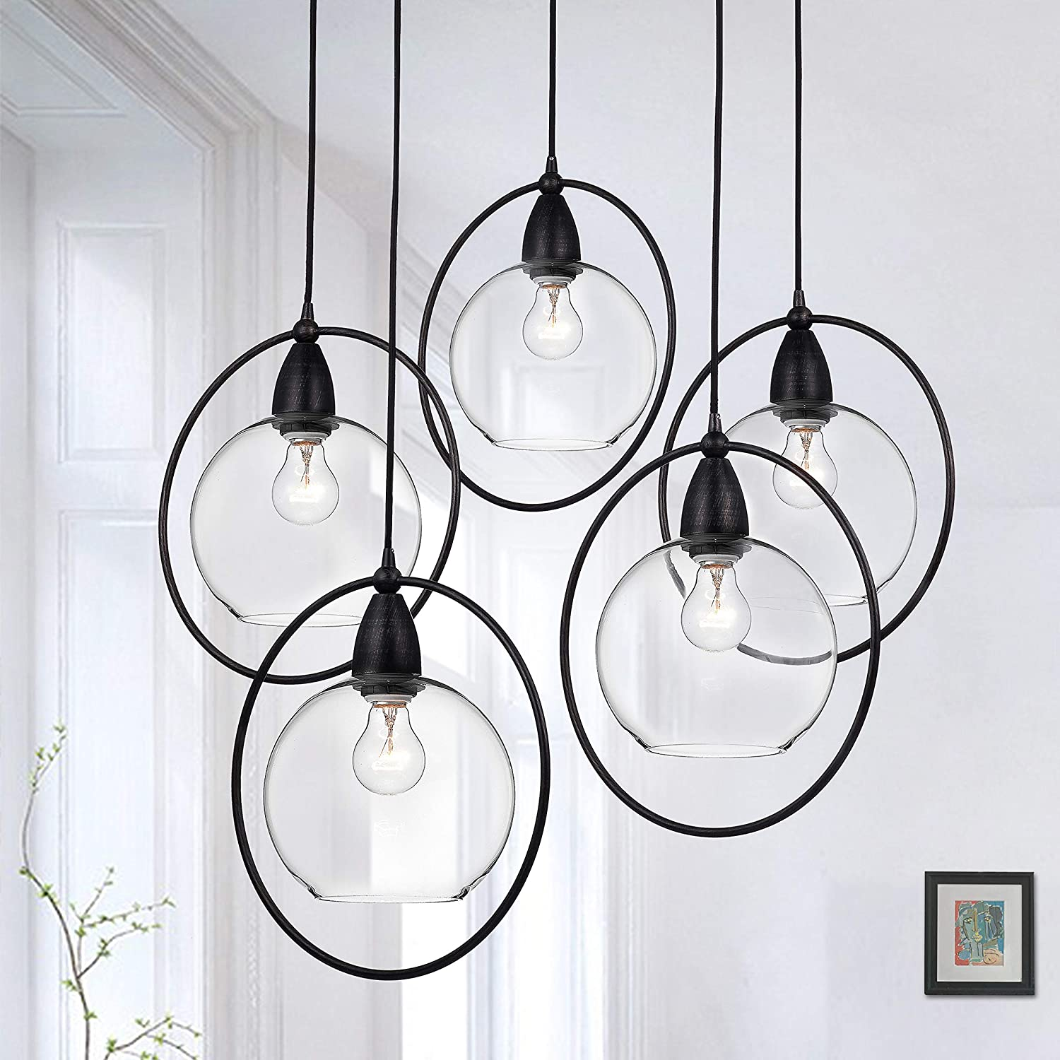 jojospring Luna Antique Black 5-Light Glass Iron Loop Pendant ...