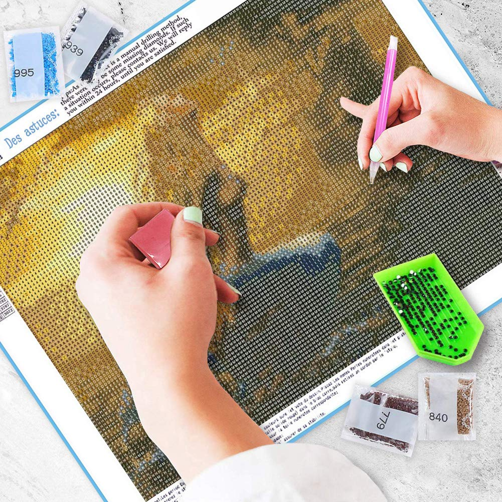 DIY 5D Diamond Painting Kits for Adults Full Drill Embroidery Paintings Rhinestone Pasted DIY Painting Cross Stitch Arts Crafts for Home Wall Decor Grey Eiffel(30X40cm)