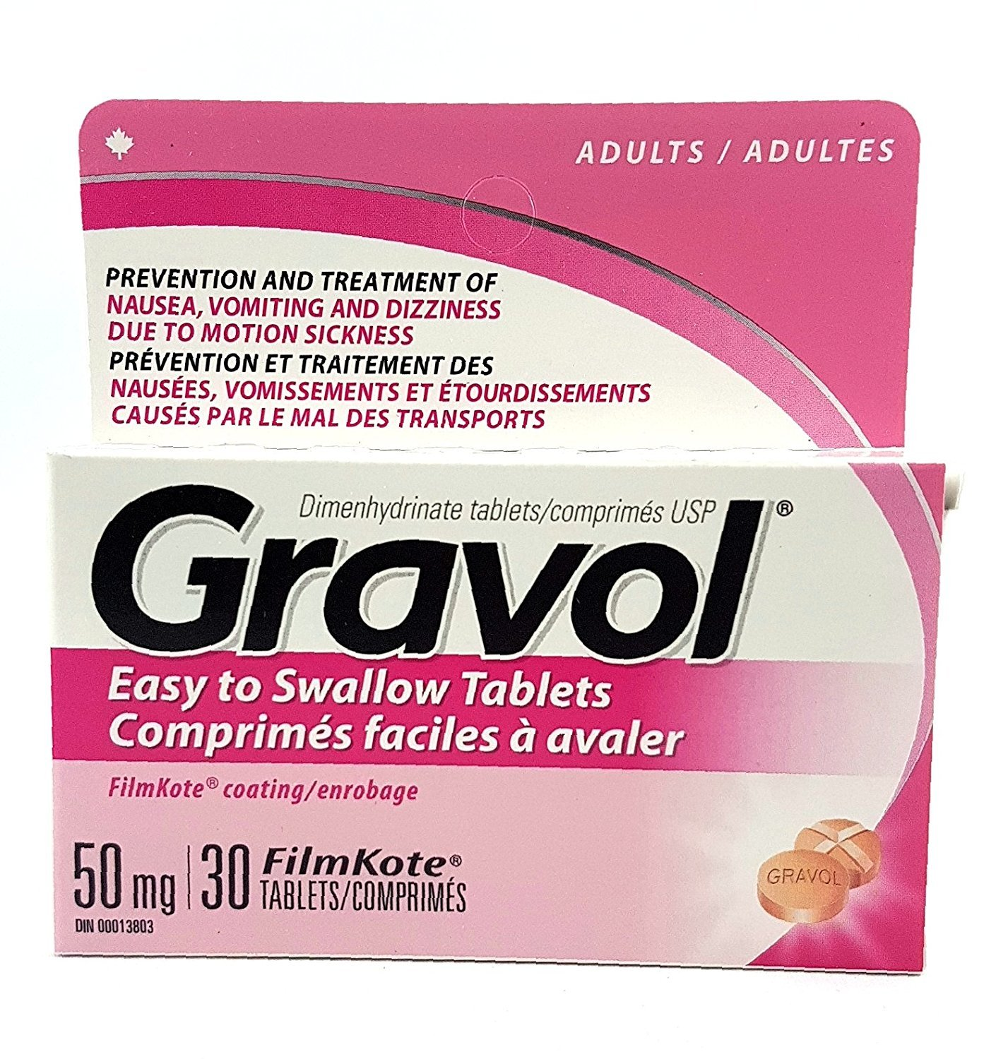 Easy to Swallow GRAVOL (30 tablets) Antinauseant for NAUSEA, VOMITING, DIZZINESS & MOTION SICKNESS by Gravol