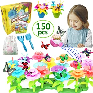 VLUSSO Gifts Toys for 3-6 Year Old Girls - DIY Flower Garden Building Kits Educational Outdoor Activity for Preschool Toddlers Playset STEM Toy Crafts Birthday Gift for Kids Girls