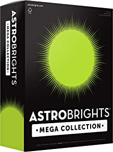 """Astrobrights Mega Collection, Colored Cardstock, Neon Green, 320 Sheets, 65 lb/176 gsm, 8.5"""" x 11"""" - MORE SHEETS! (91679)"""