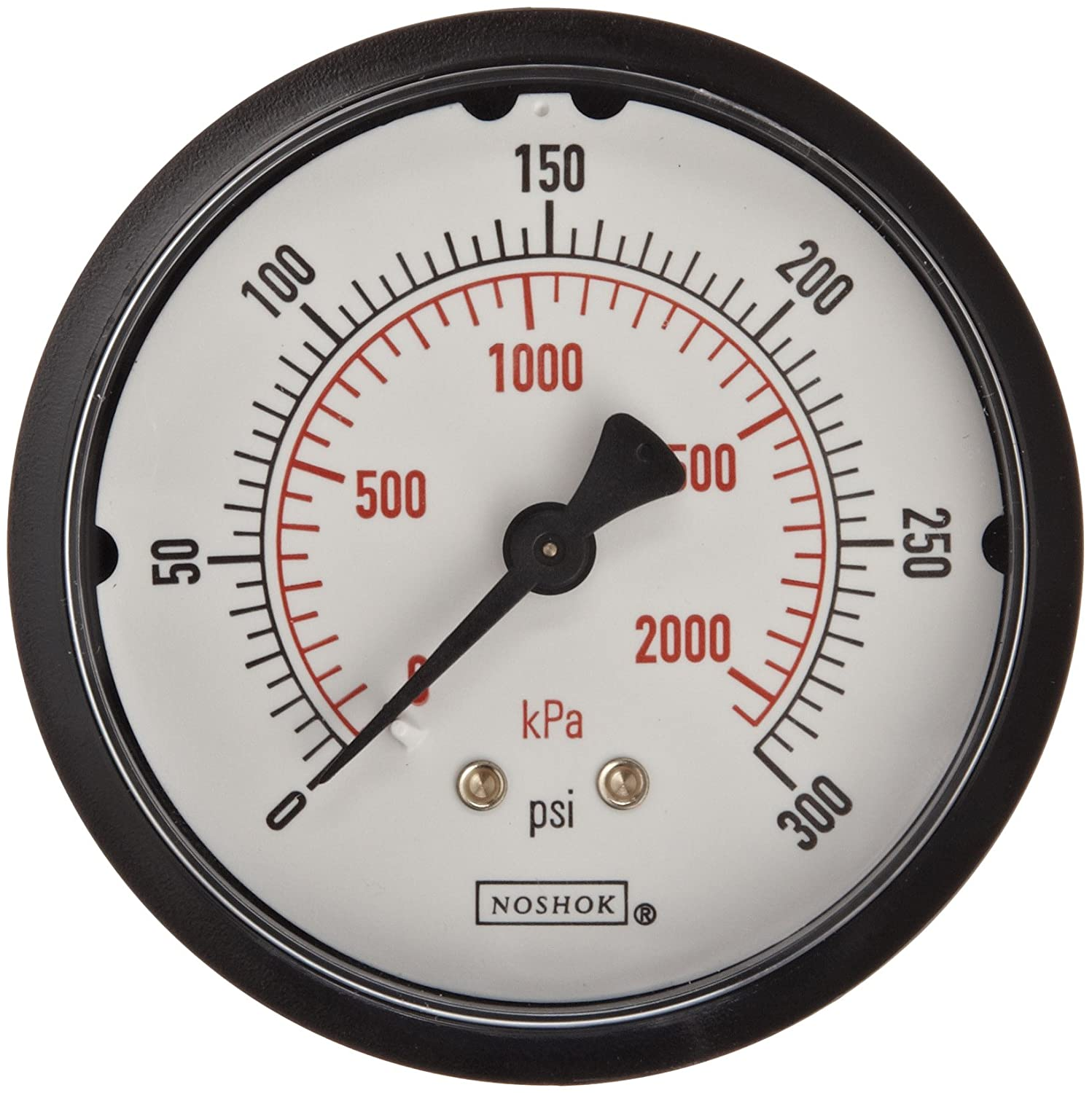 """NOSHOK 100 Series ABS Dual Scale Dial Indicating Pressure Gauge with Back Mount, 2-1/2"""" Dial, +/-2.5% Accuracy, 0-300 psi Pressure Range"""