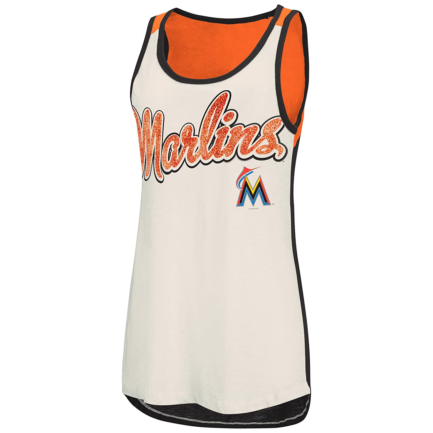 2ab193b11ac60b Amazon.com   GIII For Her MLB Miami Marlins Women s Triple Play Tank ...