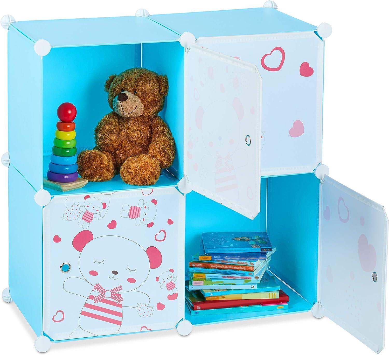 Relaxdays Estantería para niños, Osos, Cuatro Compartimentos, Extensible, Modular, 75 x 75 x 36,5 cm, Azul, PP