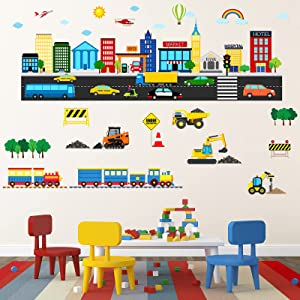 Transportation Wall Decals Construction Wall Stickers Vehicle Tractor Cars Trucks Excavator Stickers Peel and Stick Transportation and City Scene Decals for Kids Nursery Bedroom Living Room Playroom