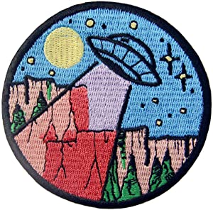 UFO in The Wild Explore Outdoor Patch Embroidered Applique Iron On Sew On Emblem
