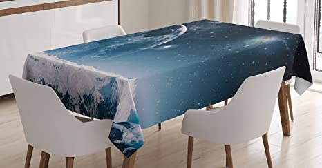 Ambesonne Galaxy Outer Space Tablecloth Table Cover for Dining Room Kitchen