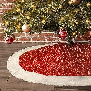 LimBridge Christmas Tree Skirt, 48 inches Classic Shining Golden Stars with Plush White Fur Trim Xmas Holiday Decoration, Red