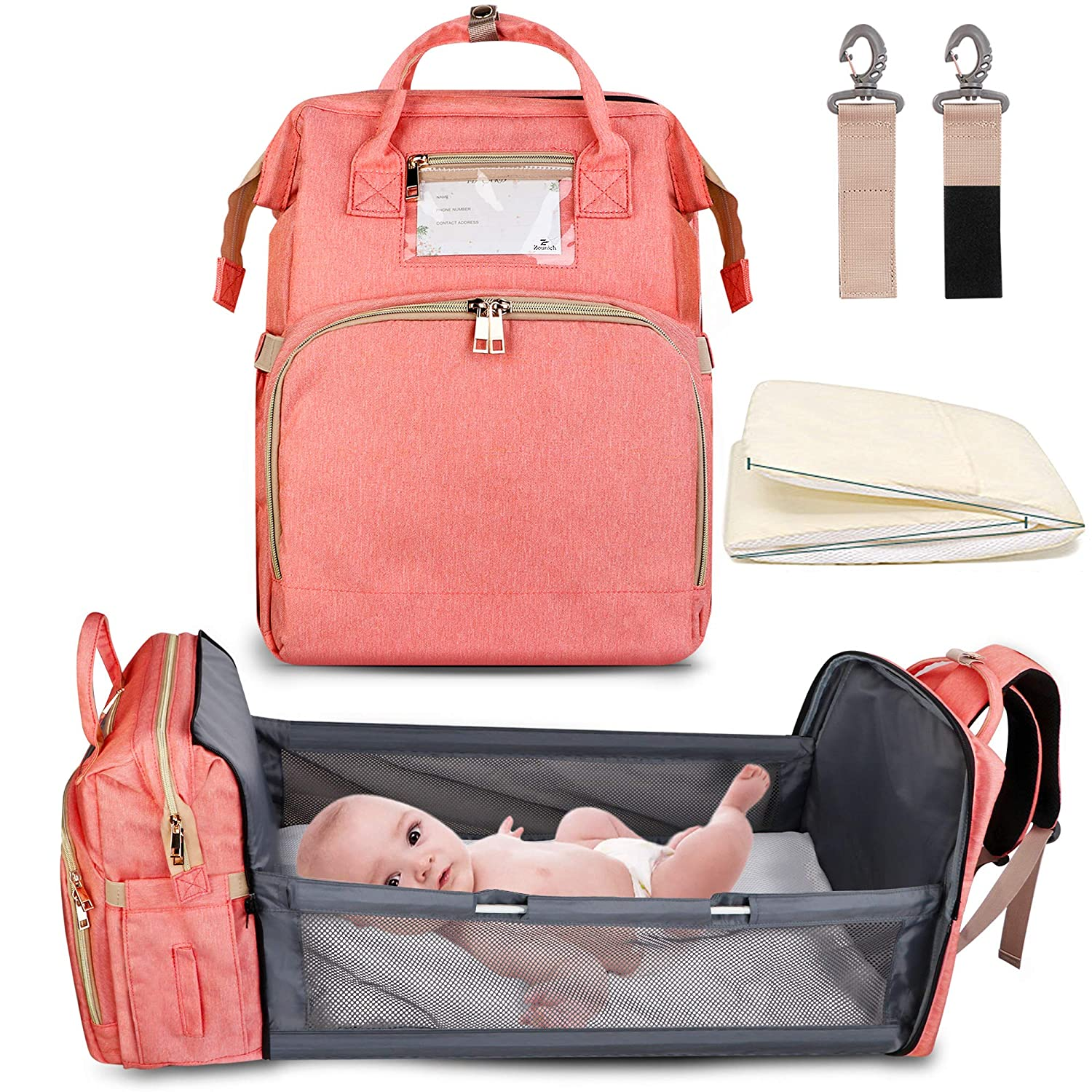 5-in-1 Travel Bassinet Foldable Baby Bed, ZOUNICH Diaper Bag Backpack Changing Station for Men Women,Portable Bassinets for Baby Girls Boys, Travel Crib Infant Sleeper,Baby Nest with Mattress Included