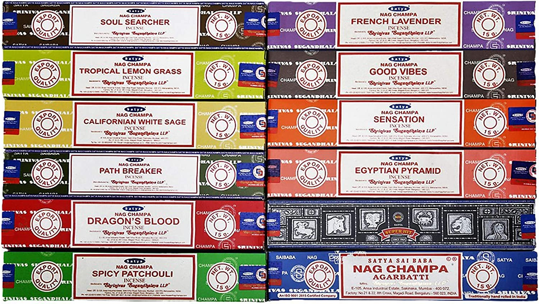 Satya Incienso, 12 cajas de 180 g