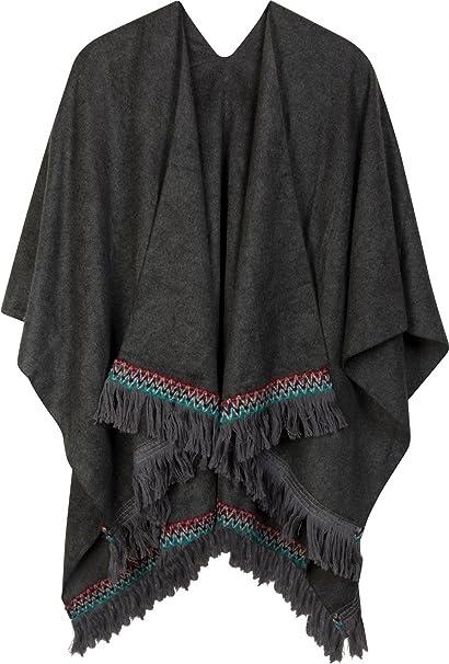 47351c53fc styleBREAKER mantellina con bordi e frange in maglia etnica ...