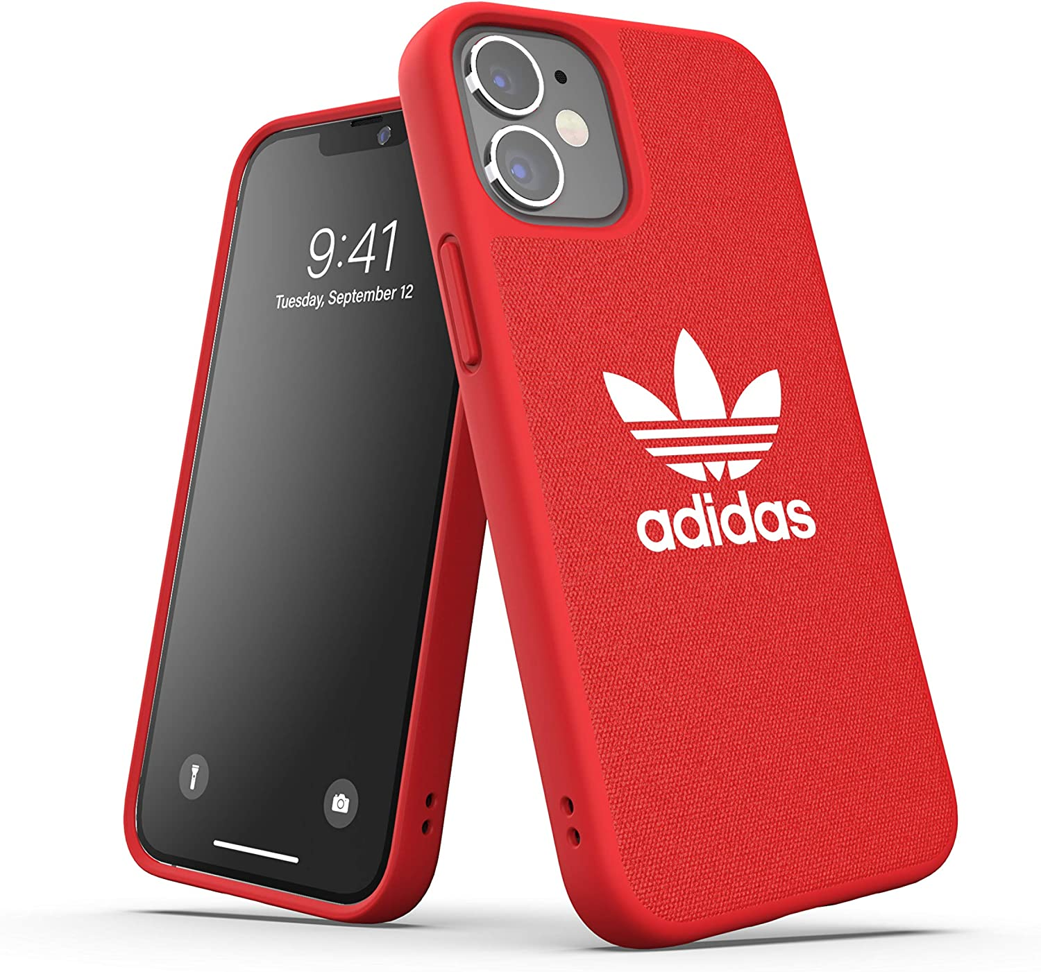adidas Phone Case Designed for iPhone 12 Mini 5.4, Canvas Cover, Drop Tested Cases, Shockproof Raised Edges, Originals Protective Cover, Scartlet
