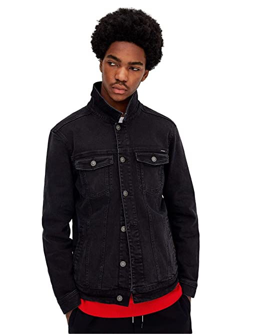f0e2dea390da5 Pull   Bear Men s Black Faded Denim Jacket (Medium)  Amazon.in ...