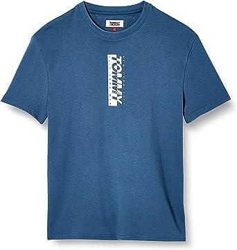 Tommy Jeans TJM Vertical Logo tee Camisa, Azul (Audacious ...