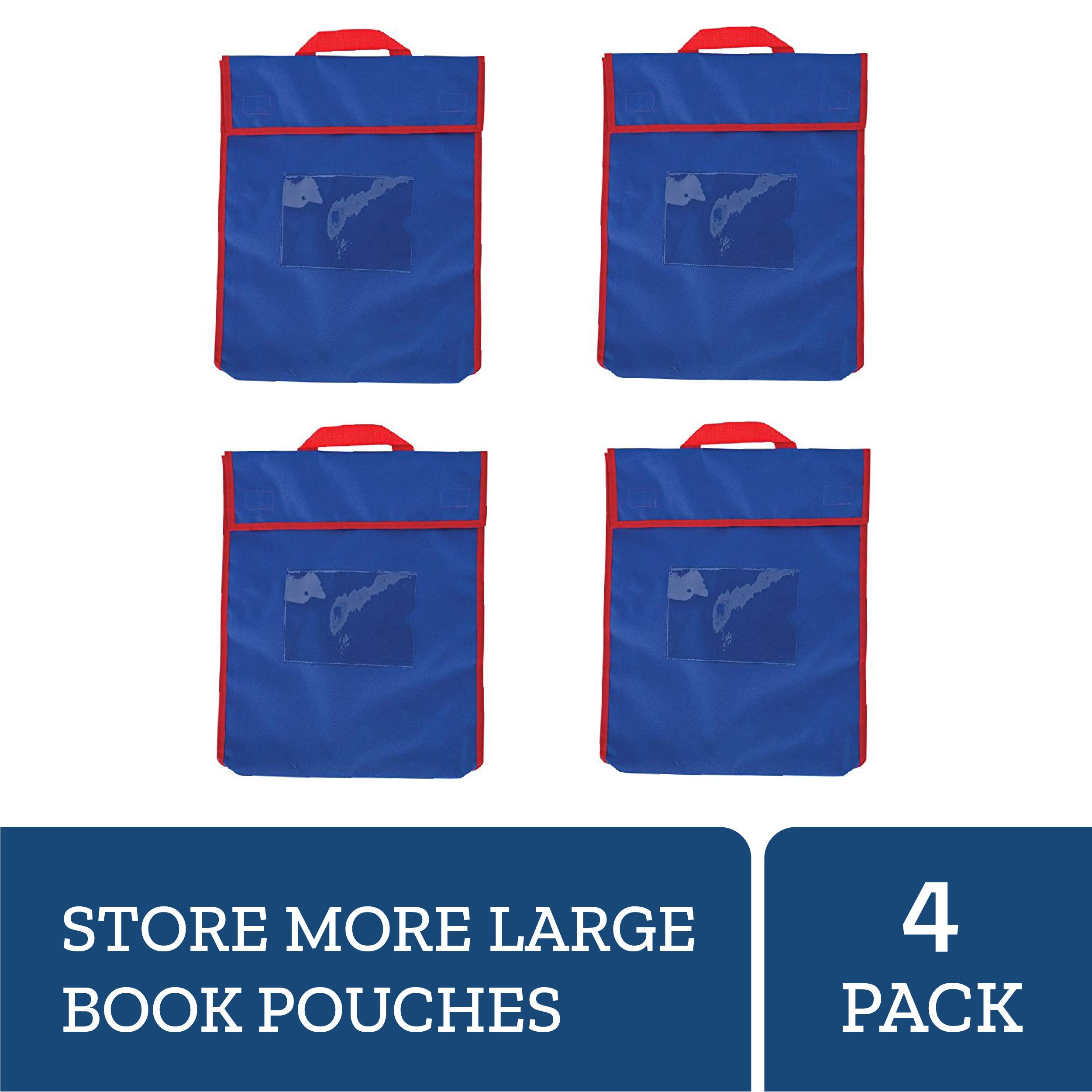 Really Good Stuff Store More Large Book Pouches, 12''x1''x15'' (Set of 4) - Available in 16 Colors - Send Home Books and Homework in Durable Fabric Book Bag - Stitched-On Handle, Clear Name Tag Pocket
