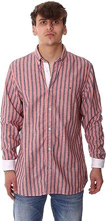 Tommy Hilfiger Cotton Linen Multi Stripe Shirt Camisa, Naranja, X-Large (Talla del Fabricante:) para Hombre: Amazon.es: Ropa y accesorios