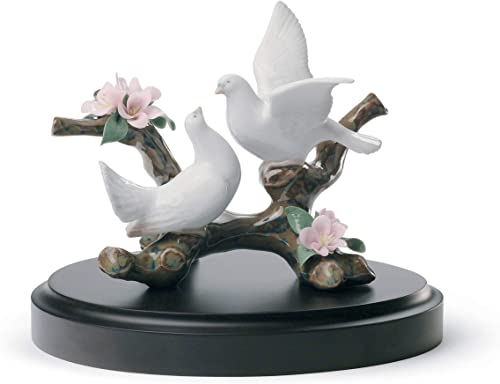 LLADR Doves On A Cherry Tree Figurine. Porcelain Doves Figure.