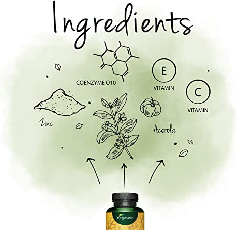 Coenzima Q10 100mg Vegavero® | La Única Natural | COMBINACIÓN ÚNICA: Con Vitaminas C + E + Zinc | SIN ADITIVOS | Antioxidante + Antiedad | 120 Cápsulas | Ubiquinol: Amazon.es: Salud y cuidado personal