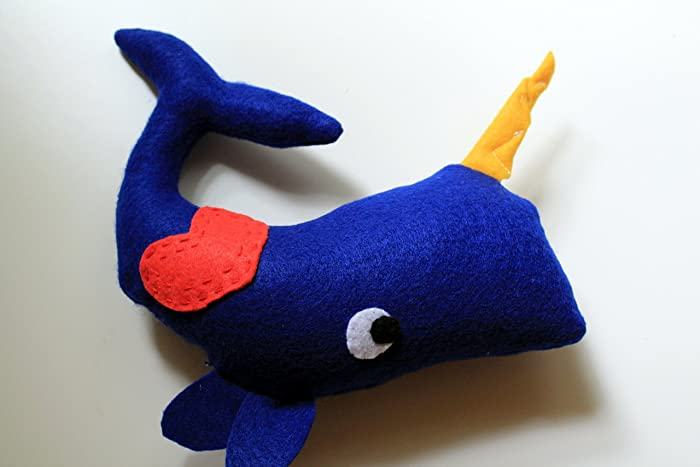 Amazon Com Stuffed Blue Narwhal Plush With Gold Horn Big Felt Eyes