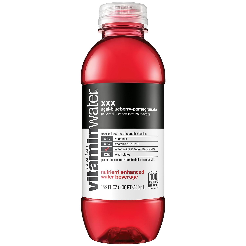 vitaminwater zero xxx, electrolyte enhanced water w/ vitamins, açai-blueberry-pomegranate drink 16.9 fl oz, 6 Pack