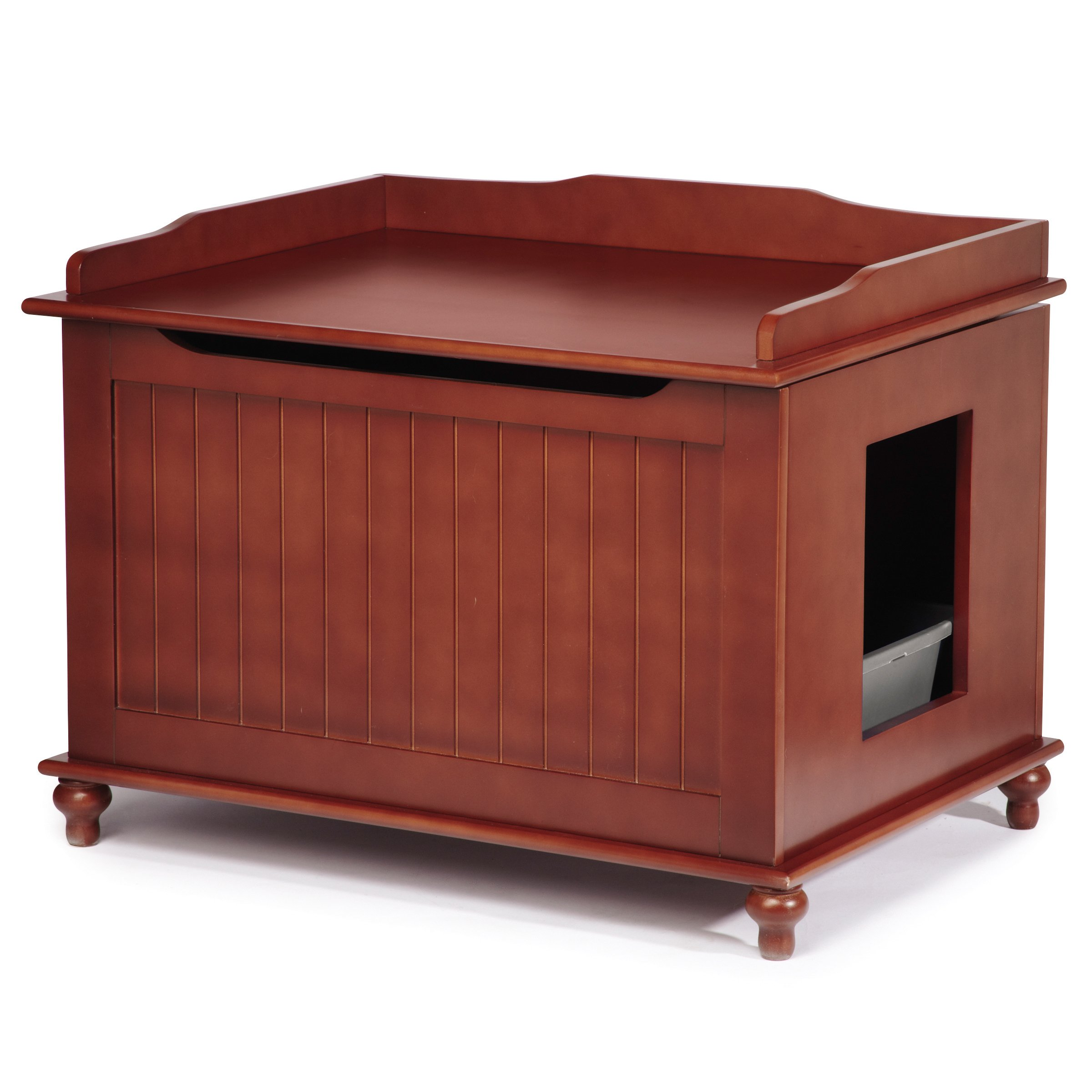 Meow Town Windsor Cat Litter Bench Litter Box Cabinet, Mahogany