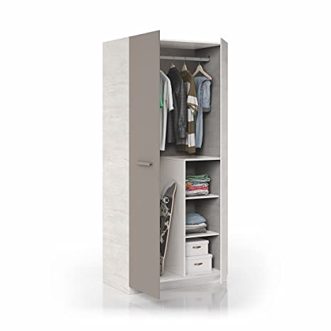 Habitdesign 1S7437Y - Armario Juvenil Acabado Blanco Alpes y Basalto, Medidas 90 x 200 x 52 cm de Fondo