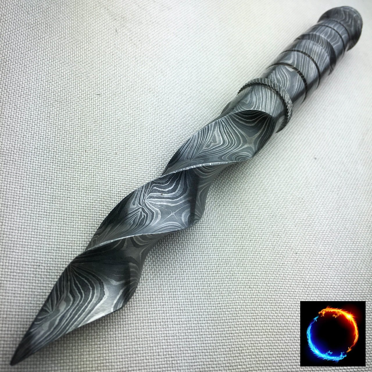 10.5'' Damascus Fixed Blade Knife Handmade Tri Dagger Hand Forged Kris Blade + Sheath (Limited Edition)