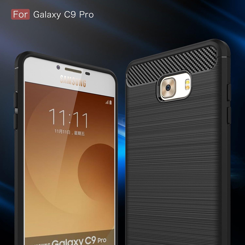 HualuBro Funda Galaxy C9 Pro, [Shock-Absorción] [Anti-Arañazos] Carbon Fiber Slim Silicona TPU Carcasa Gel Bumper Case Cover para Samsung Galaxy C9 Pro: Amazon.es: Electrónica