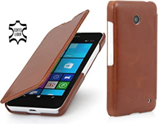 StilGut® UltraSlim Case, custodia in vera pelle versione booklet per Nokia Lumia 630, cognac