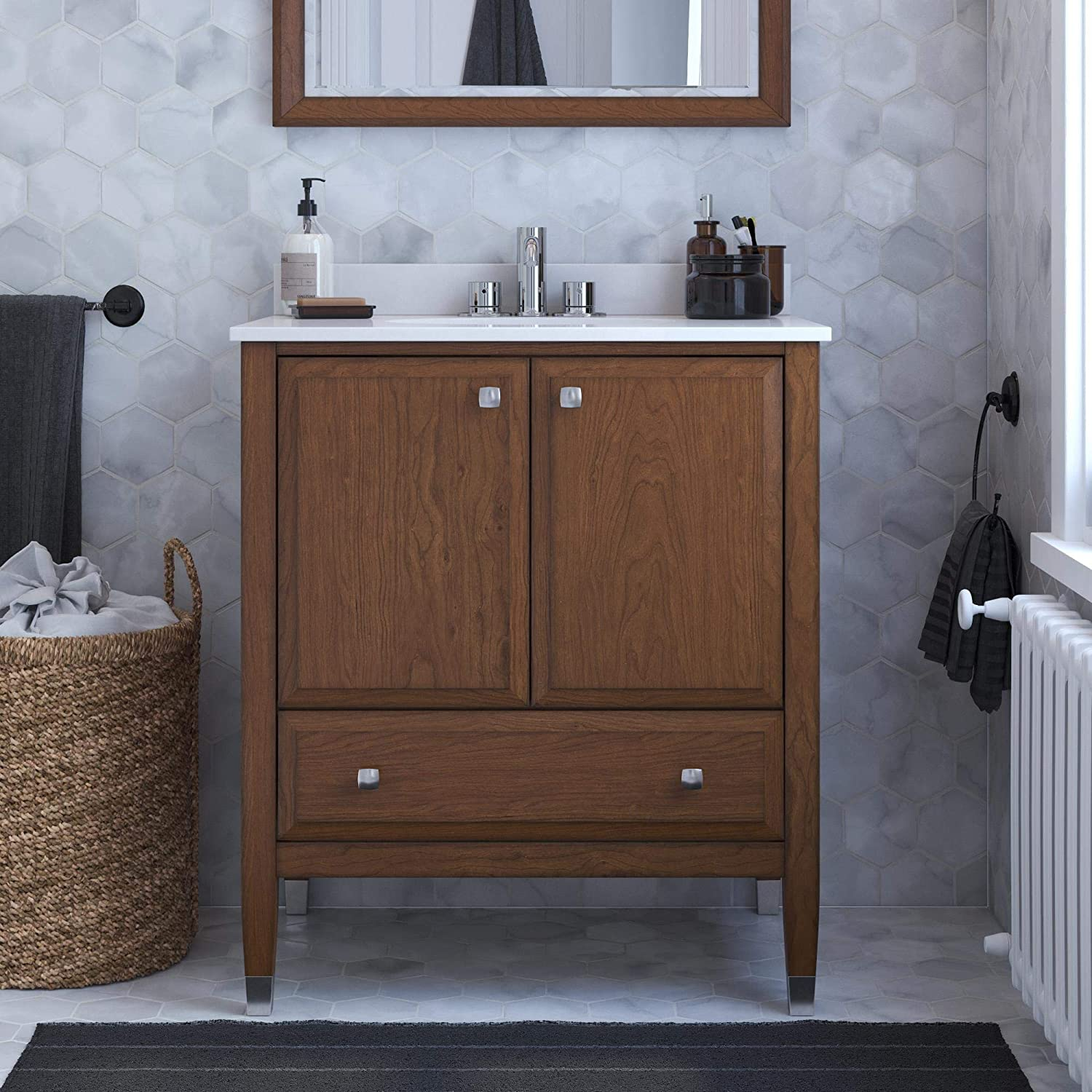 Amazon Com Dorel Living Metcalfe 30 Inch Walnut Bathroom Vanity 30 Furniture Decor