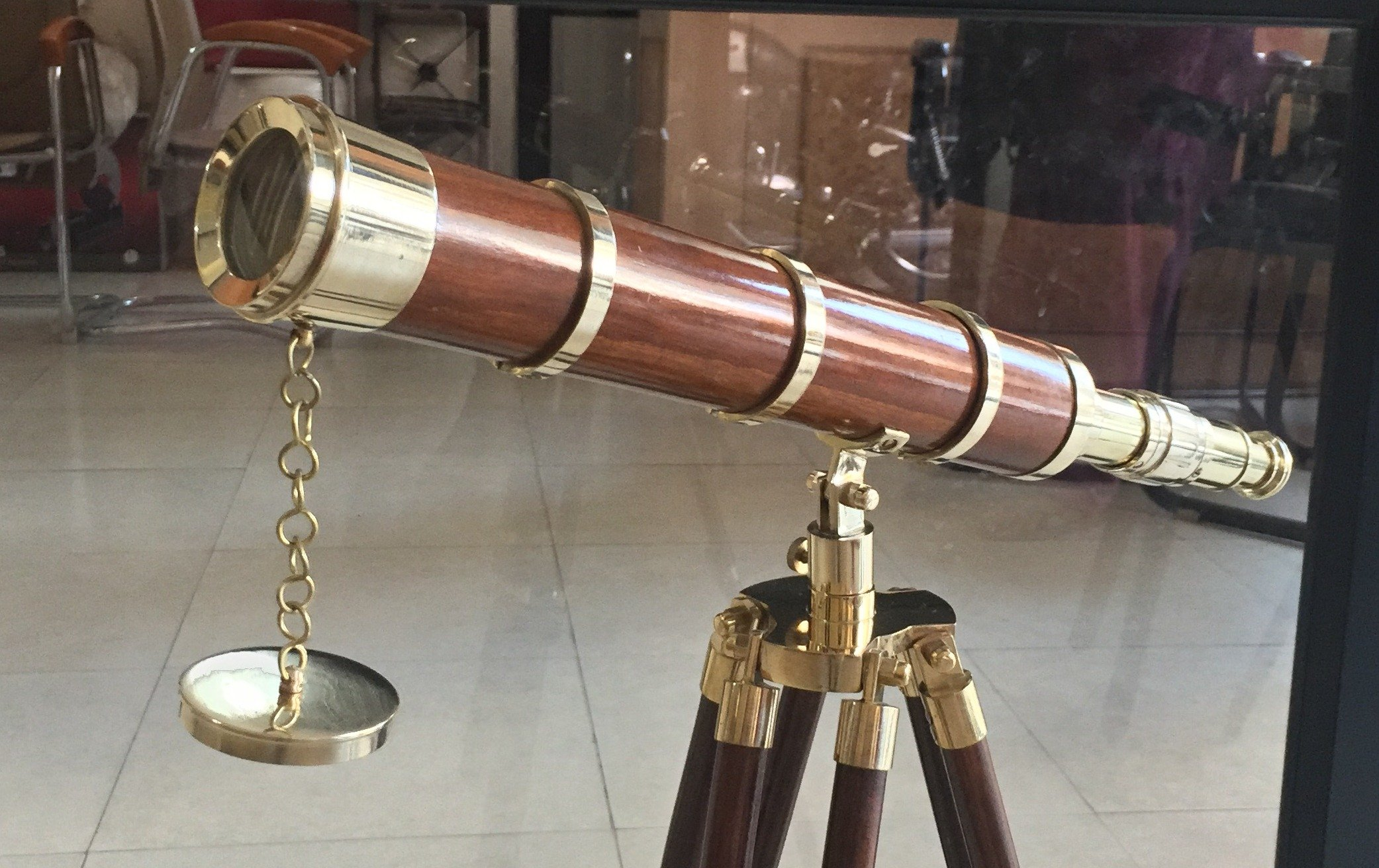 Vintage Nautical Collectible Brass Telescope with Brown Wooden Adjustable Tripod by NAUTICALMART