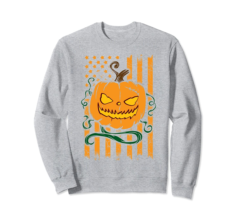 American Flag and Pumpkin Halloween Party Sweatshirt-mt