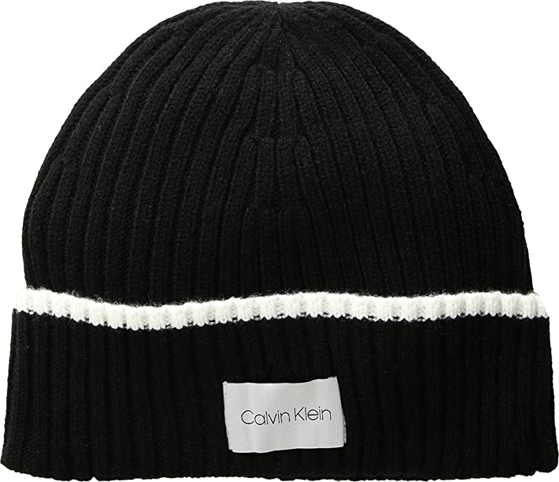 Calvin Klein Women s Tipped Cuff Beanie Black One Size at Amazon ... 872091d89dd8