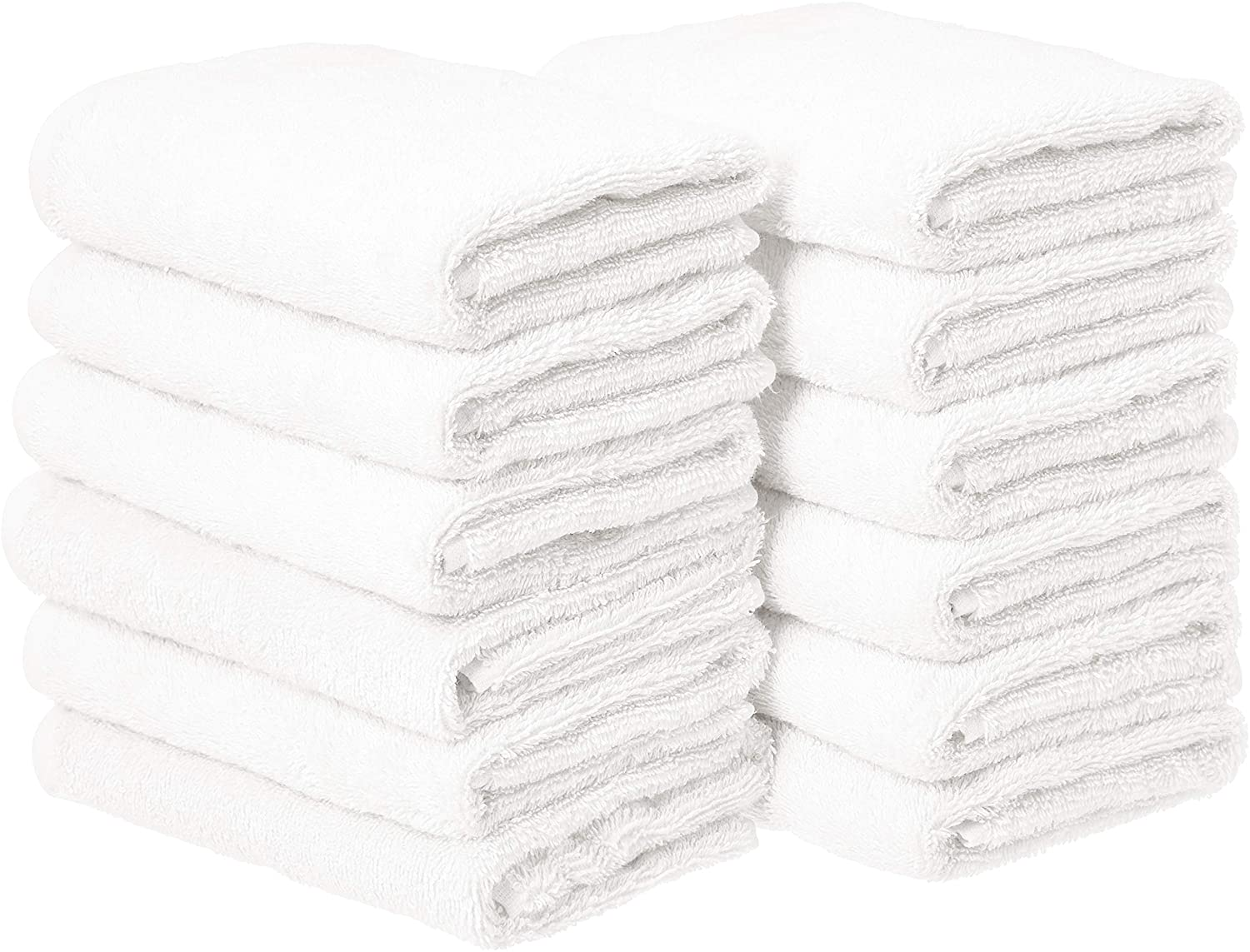 Basics Cotton Hand Towels, White - Pack of 12: Home & Kitchen