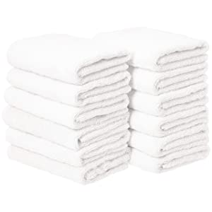 AmazonBasics Cotton Hand Towel - 12-Pack, White
