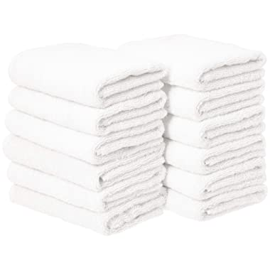 AmazonBasics Cotton Hand Towel - 12-Pack, White