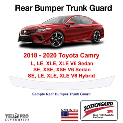 YelloPro Custom Fit Rear Trunk Bumper Edge 3M Scotchgard Paint Protector Film Anti Scratch Clear Bra Guard Cover Self Healing PPF Kit for 2020 2020 2020 Toyota Camry L LE XLE SE XSE Hybrid Sedan: Automotive