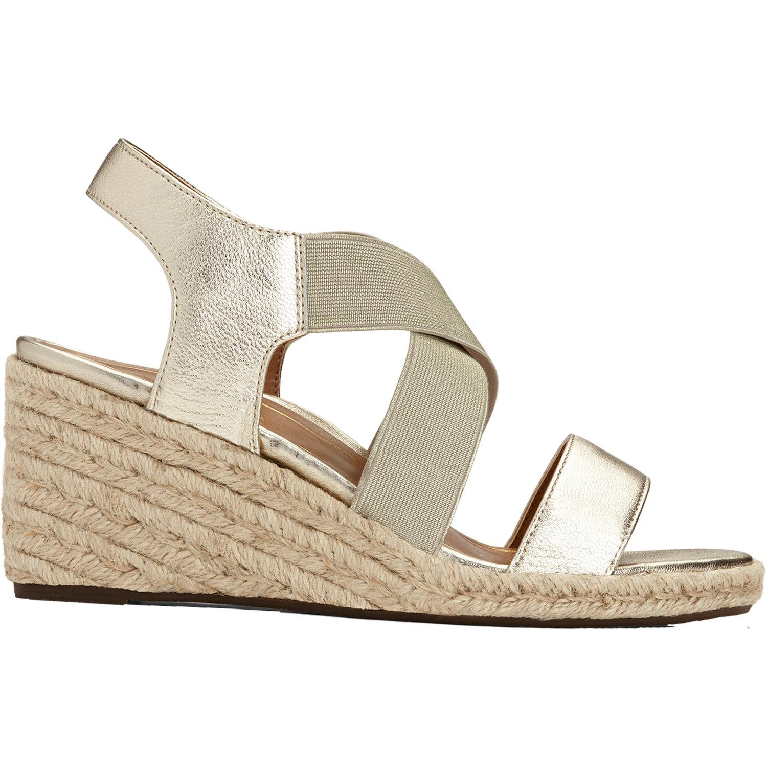 Vionic Tulum Ainsleigh - Womens Wedge Sandal Champagne - 8.5 Wide