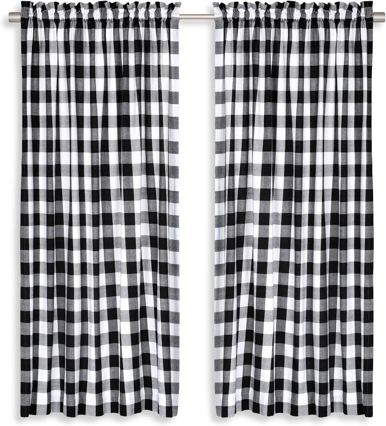 Cackleberry Home Black and White Buffalo Check Woven Fabric Panel Curtains 54 Inches W x 63 Inches L, Set of 2