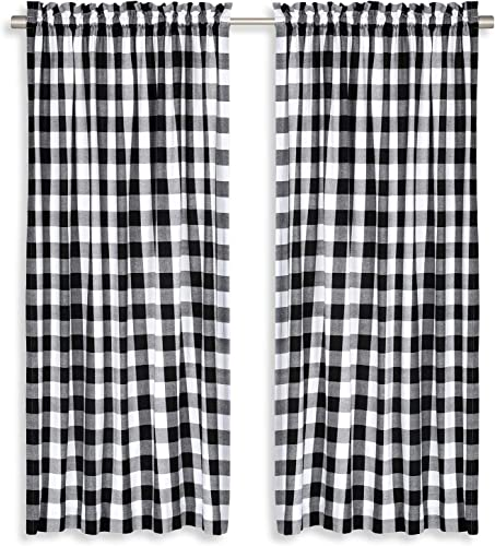 Cackleberry Home Black and White Buffalo Check Woven Fabric Panel Curtains 54 Inches W x 96 Inches L