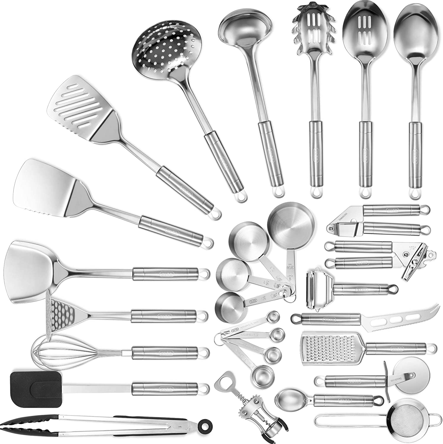 Klee Stainless Steel Kitchen Utensil Set 29 Cooking Utensils Set Spatula Garlic Press Cheese Knife Whisk Tongs Pizza Cutter Grater Strainer Can Opener And More Nonstick Cookware Set Amazon Ca Home Kitchen