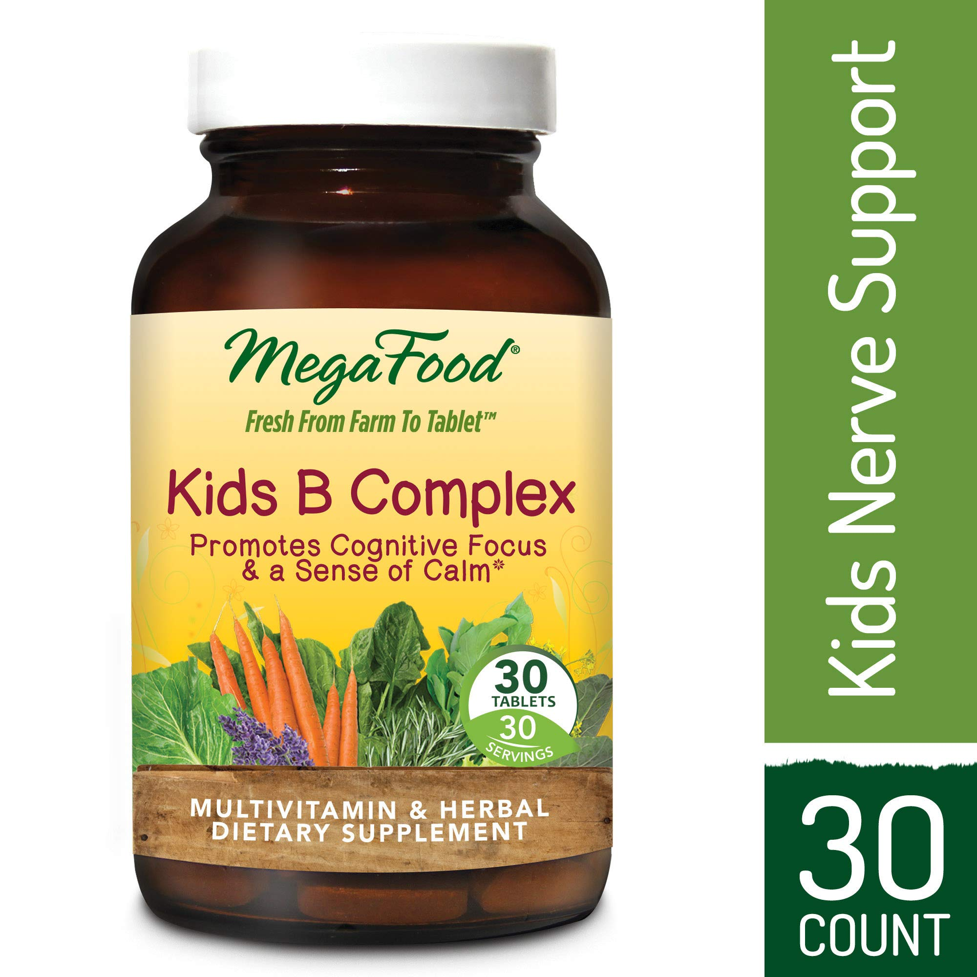 MegaFood - Kid's B Complex, Promotes a Sense of Calm, Energy Production, and Nervous System Health with L-Theanine, Choline, and B Vitamins, Vegan, Gluten-Free, Non-GMO, 30 Tablets (FFP)