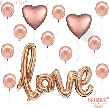 Golden 2pcs Jumbo Love Foil Balloons Banner Romantic Decorations for Valentines Day Wedding Engagement Party Anniversary