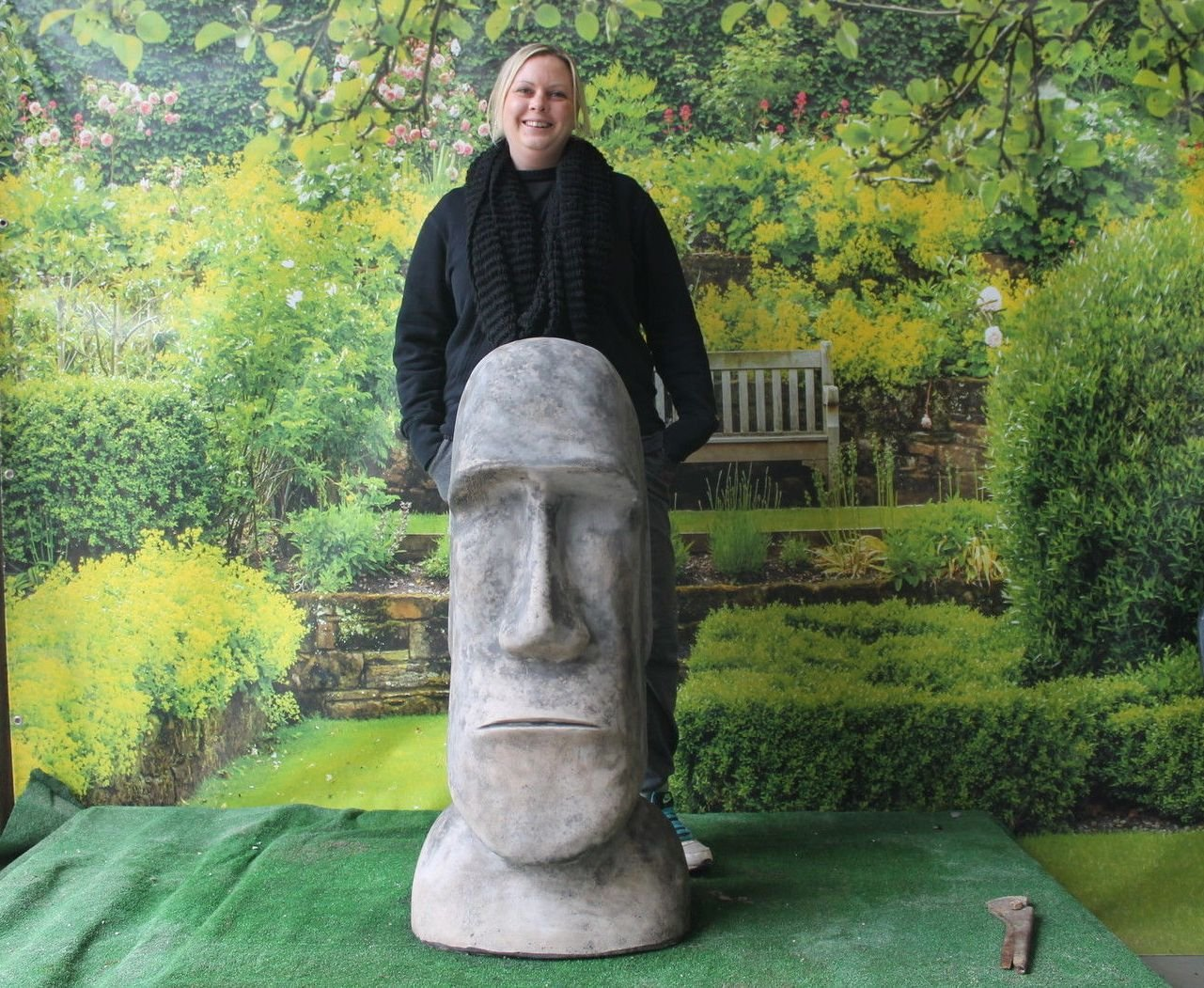 X LARGE EASTER ISLAND STONE HEAD STATUE
