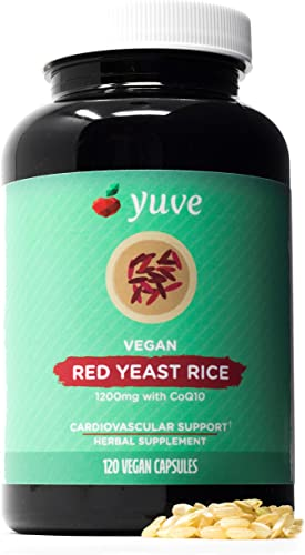 Yuve Red Yeast Rice 1200 mg CoQ10 – Triglycerides Lowering Natural Supplement – Healthy Cardiovascular System Blood Circulation Support – Supports Overall Health – 120 Gelatin-Free Vegan Capsules