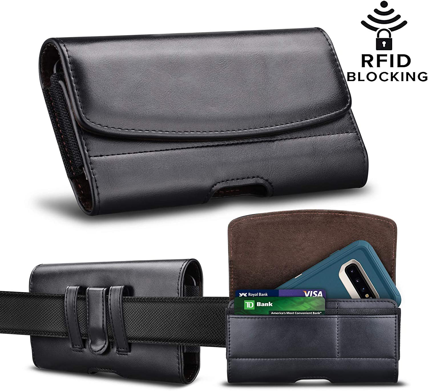 Njjex Phone Holster For iPhone 11 Pro Max XS MAX XR,6/7/8 Plus, Galaxy S10+ S9 S8 S7 Plus,S10E,Note 10,Note 9/8/5 A10 A20 A30 A50 A70, PU Leather Belt Clip Pouch RFID Wallet Carrying Case & Card Slots