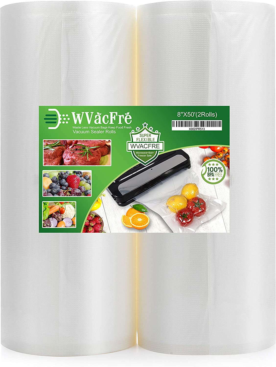 WVacFre 2Pack 8X50 Food Saver Vacuum Sealer Bags Rolls with BPA Free,Heavy Duty,Great for Food Vac Storage or Sous Vide Cooking