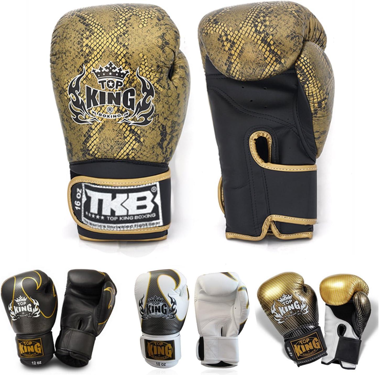 (トップキング) Top Kingボクシンググローブ トレーニングやスパーリング ムエタイ ボクシング キックボクシング MMAなどに カラー ブラック ホワイト レッド ブルー ゴールド サイズ 8 10 12 14 16オンス デザイン Air Empower Superstarなどなど Snake - 黒/ゴールド 16 oz