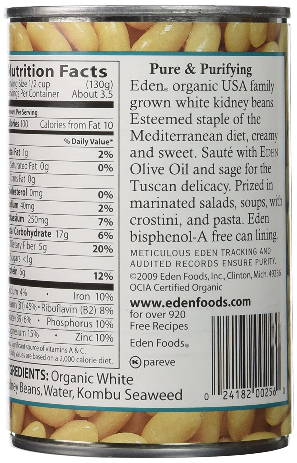 Amazon.com : Eden Organic Cannellini White Kidney Beans, No Salt Added, 15-Ounce Cans (Pack of 12) : Kidney Beans Produce : Grocery & Gourmet Food