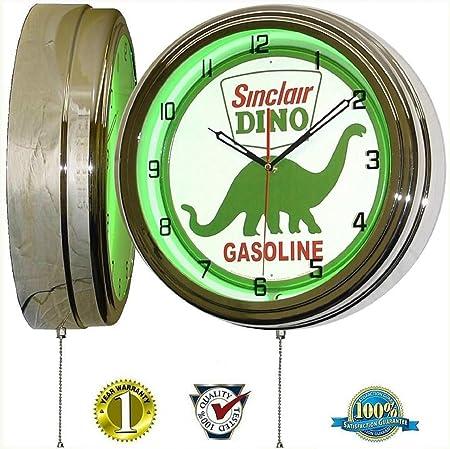 SINCLAIR DINOSAUR 15 NEON LIGHT WALL CLOCK GASOLINE GAS FUEL PUMP OIL SIGN GREEN
